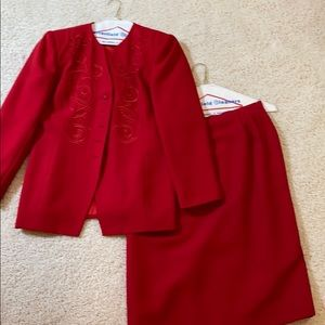 Le Suit -2 piece red suit -skirt and jacket